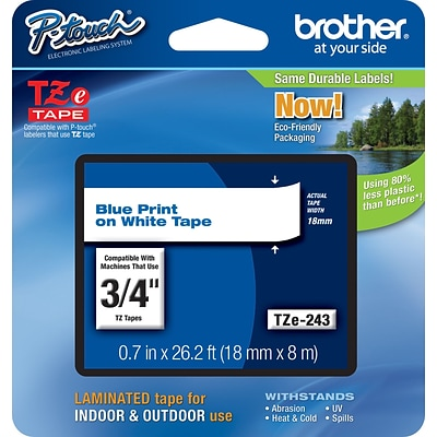 Brother TZ-E243 Label Maker Tape, 0.7W, Blue On White