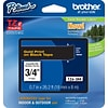 Brother® TZe Series Tape, 3/4, Gold Lettering on Black Label Tape