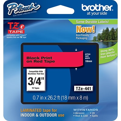 Brother® TZe Series Tape, 3/4, Black Lettering on Red Label Tape