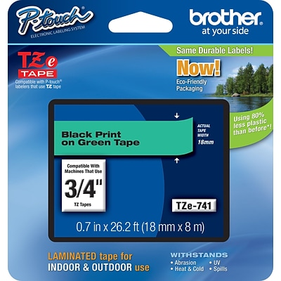 Brother TZE741 Label Maker Tape, 0.75W, Black On Green