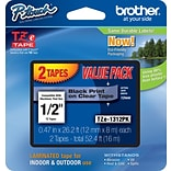 Brother® TZe Series Tape, 1/2, Black Lettering on Clear Label Tape, 2-Pack