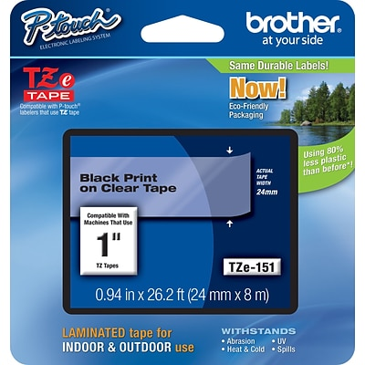 Brother TZE151 Label Maker Tape, 0.94W, Black On Clear