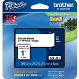 Brother® TZe Series Tape, 1, Black Lettering on White Label Tape