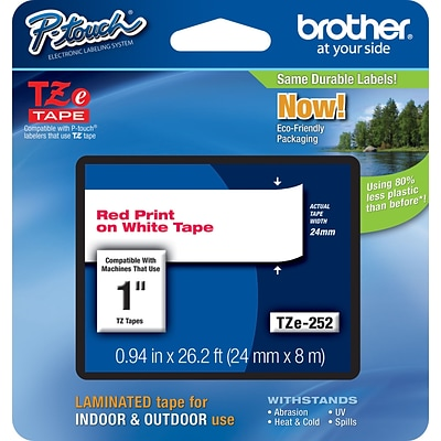Brother® TZe Series Tape, 1, Red Lettering on White Label Tape
