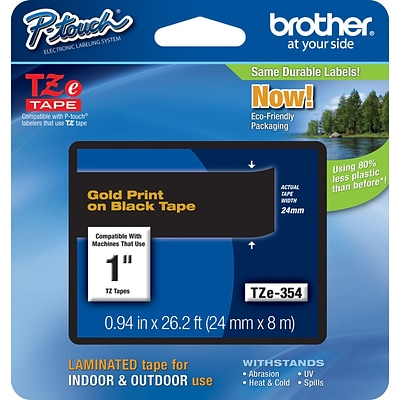 Brother® TZe Series Tape, 1, Gold Lettering on Black Label Tape