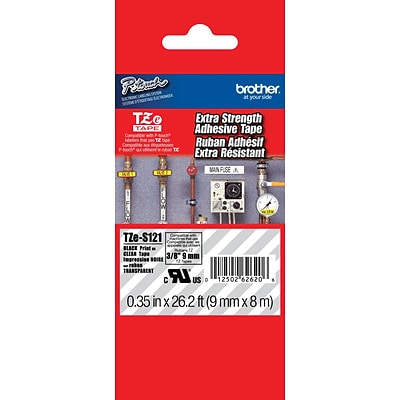 Brother® TZES Extra-Strength Industrial Label Tape Cartridges, 3/8, Black on Clear