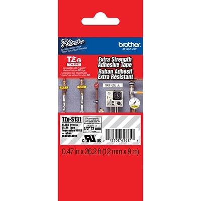 Brother® TZES Extra-Strength Industrial Label Tape Cartridges, 1/2, Black on Clear