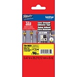Brother® TZES Extra-Strength Industrial Label Tape Cartridges, 1/2, Black on Yellow