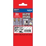Brother® TZES Extra-Strength Industrial Label Tape Cartridges, 1, Black on Clear