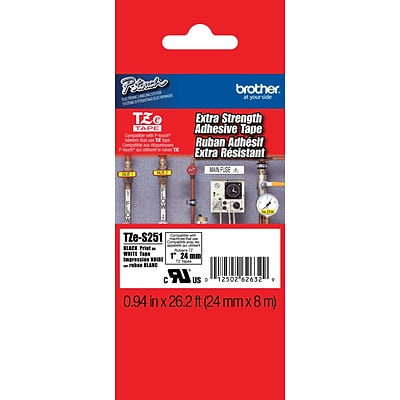 Brother® TZES Extra-Strength Industrial Label Tape Cartridges, 1, Black on White