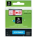 DYMO 1/2 Red on Clear Labelmaker Tape