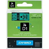 DYMO® D1 Labels; 1/2, Black on Green