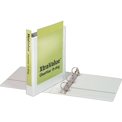 Cardinal® XtraValue™ ClearVue™ Slant-D® Ring Binder, White, 375-Sheet Capacity, 1 1/2 (Ring Diameter)