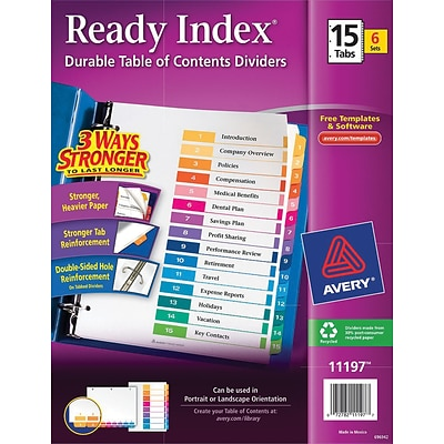 Avery 15-Tab Ready Index Durable Table of Contents Dividers, Multicolor, 6/Pack (11197)