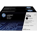 HP 53X (Q7553XD) Black High Yield Original LaserJet Toner Cartridges, Multi-pack (2 cart per pack)