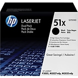 HP 51X (Q7551XD) Black High Yield Original LaserJet Toner Cartridges, Multi-pack (2 cart per pack)