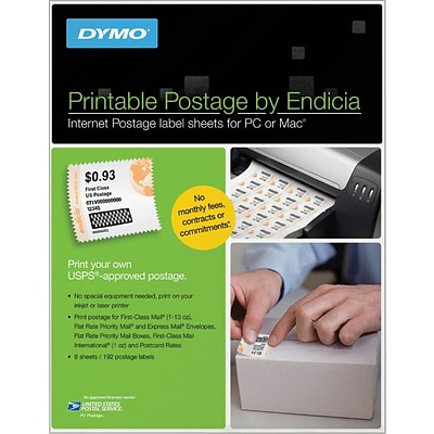 DYMO® 8-1/2-inch x 11-inch, Printable Postage Stamp Shipping Labels, 8/Pk (1750042)