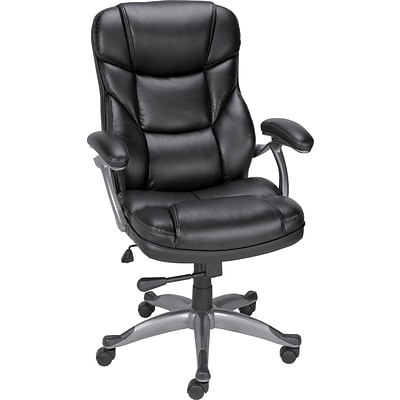 Quill Brand® Osgood Bonded Leather High-Back Managers Chair, Black