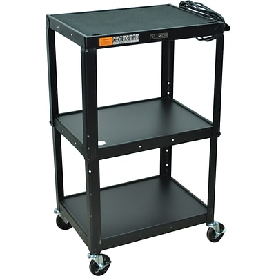 Luxor® Adjustable-Height Steel Multi-Media Cart