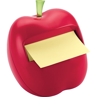 Post-it® Pop-Up Dispenser for 3 x 3 Notes, Red, Apple-Shaped, 1 Pad/Pack (APL330)