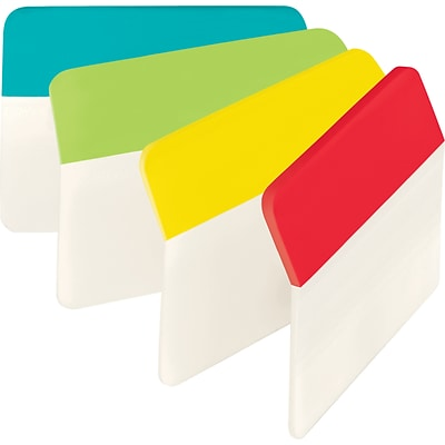 Post-it® Angled Durable Tabs, 2 Wide, Assorted Colors, 24 Tabs/Pack (686AALYR)