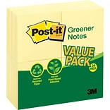 Post-it® Greener Notes, 3 x 3, Canary Yellow, 24 Pads/Pack (654-RP24YW)