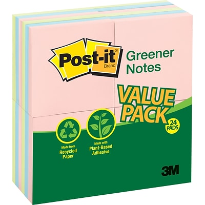Post-it® Recycled Notes, 3 x 3, Helsinki Collection, 24 Pads/Pack (654-RP24AP)