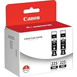 Canon® PGI-225PGBK Inkjet Cartridge Multi-pack (2 cart per pack); Pigment Black