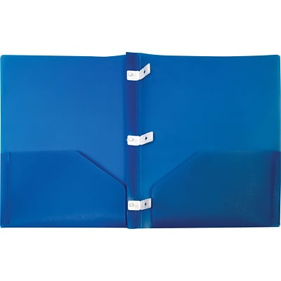 Storex 2-Pocket Poly Folder with Plastic Prongs, Blue (50313U18C)