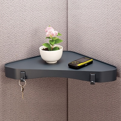 Diversity Products Solutions by Staples® Cubicle and Wall Corner Shelf, Charcoal, 1 1/2H x 13 W x 3 D