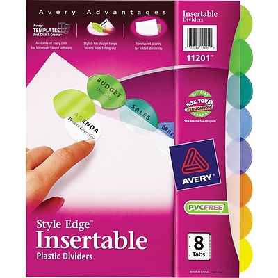 Avery® 11201 Style Edge™ Insertable Plastic Dividers, 8-Tab Set