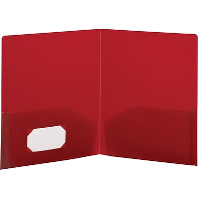 Storex® Recycled Poly Two-Pocket Portfolios, Red