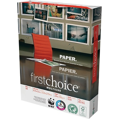 Weyerhaeuser First Choice Multi-Purpose Paper, LETTER-Size, 98/110+ US/Euro Brightness, 24 Lb., 8 1/2H x 11W, 5,000 Sheets/Ct