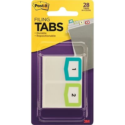Post-it® Preprinted Number Tabs, Assorted Colors, 28 Tabs/Pack (686NMBR)
