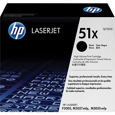 HP 51X Black Toner Cartridge, High Yield (Q7551X)