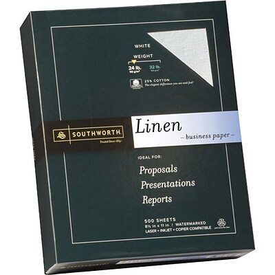 SOUTHWORTH Linen Business Paper, 8 1/2 x 11, 24 lb., Linen Finish, White, 500/Box