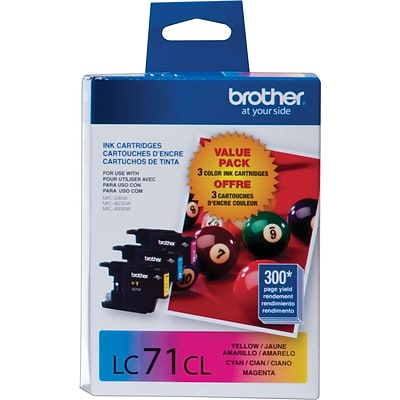 Brother LC 71 Color Combination Ink Cartridges, Standard Yield, 3/Pack (LC713PKS)