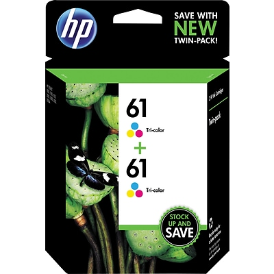HP 61 Tri-color Original Ink Cartridges, Multi-pack (2 cart per pack)