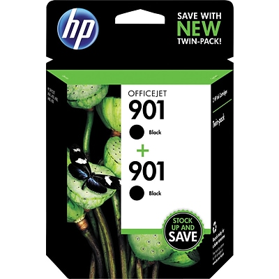 HP 901 Black Original Ink Cartridges, Multi-pack (2 cart per pack)