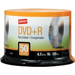 Staples 4.7GB 16X DVD+R Spindle, 50/Pack (13163)