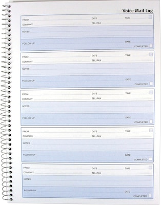Rediform Voice Mail Telephone Message Log Book Follow Up Format
