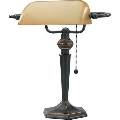 V-light Bankers Lamp with Classic Amber Glass Shade, Elegant Bronze Finish