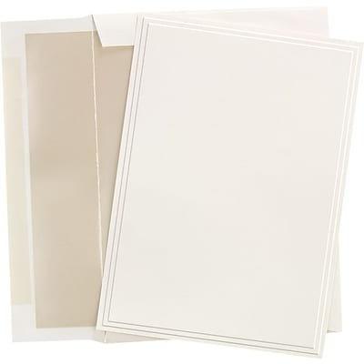 Great Papers® Triple Embossed Ivory Flat Card Invitations with Pearl Lined Envelopes, 25/Pack