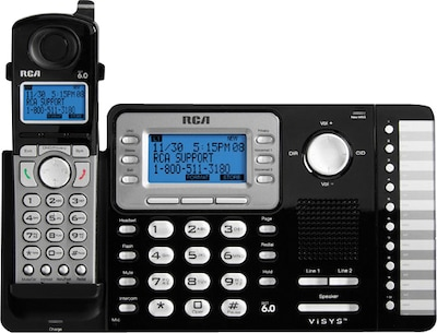 RCA Cordless Phone System, DECT 6.0 Digital, 2-Lines, Expandable