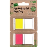 Redi-Tag 1 Recycled Pop-Up Page Markers, Yellow & Red, 50/Pk
