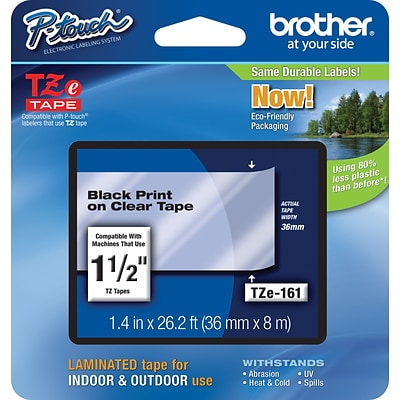 Brother® TZE Series Tape, 1-1/2, Black Lettering on Clear Label Tape