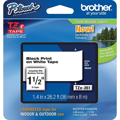 Brother® TZe Series Tape, 1-1/2, Black Lettering on White Label Tape