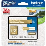Brother TZe-MQ835 1/2 P-Touch Label Tape, White on Satin Gold