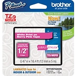 Brother TZe-MQP35 1/2 P-Touch Label Tape White on Berry Pink