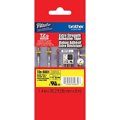 Brother TZe TZE-S661 Label Maker Tape, 1/2W, Black on Yellow
